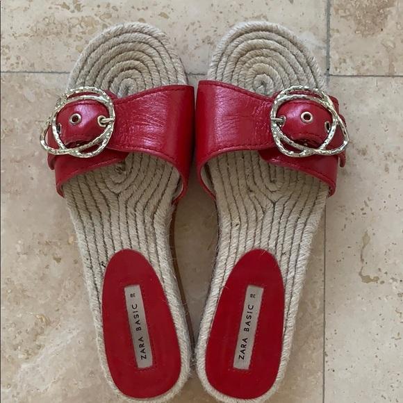 Zara red slip-on sandals Size EU 38 (7.5)